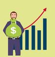 businessman holding bag money bank and graph bar vector image vector image