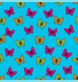 butterflies pop art seamless pattern bright vector image