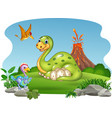 cartoon dinosaur with her eggs in the jungle vector image