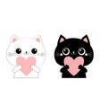cat kitten kitty head face holding big pink heart vector image vector image