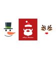 christmas icon set snowman santa claus and vector image
