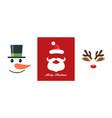 christmas icon set snowman santa claus vector image