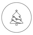 christmas tree black icon outline in circle image vector image