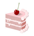creamy slice of cake with a cherry isolated on vector image