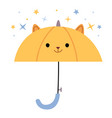 cute children yellow umbrella with a painted face vector image
