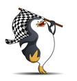 cute penguin race track starter with a flag vector image