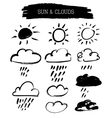Doodle grunge sun and clouds vector image