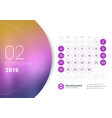 february 2019 desk calendar for 2019 year design vector image vector image
