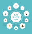 flat icons tortoise aqualung sorbet and other vector image vector image