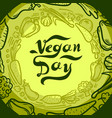 green vegan day concept background hand drawn vector image