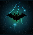 halloween bat fly and thunderbolt vector image