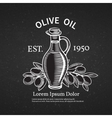 Hand drawn decorative label with a bottle of oil vector image vector image