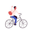 happy man with bag riding city bicycle flat vector image