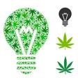 hint bulb collage of weed leaves vector image