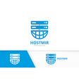 host and planet logo combination server vector image vector image