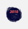 january 2018 calendar templates vector image vector image