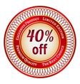 Label on 40 percent discount vector image vector image