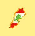 lebanon - map colored with lebanese flag vector image vector image