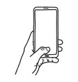 left hand using vertical blank screen mobile phone vector image vector image
