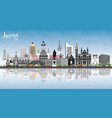 leipzig germany city skyline with gray buildings vector image vector image
