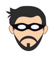 man face with mask and beard head vector image vector image