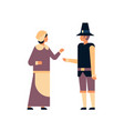 native american couple thanksgiving day vector image vector image