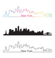 New York skyline linear style with rainbow vector image vector image