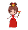 queen with crown and scepter in red dress in vector image