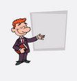 red hair businessman points relaxed with a book vector image vector image