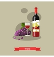 red wine bottle and glass with grapes flat design vector image