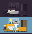 relaxed people sleeping man in vector image