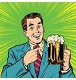 Retro man with a beer pop art vector image vector image