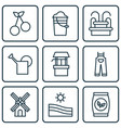 set of 9 holticulture icons includes bailer vector image vector image