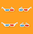 set of paper 3d glasses in flat style vector image vector image
