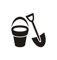 Shovel and bucket vector image vector image