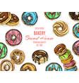 sketch donut vintag card menu vector image