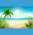 sunny day on tropical sandy beach palm trees and vector image