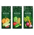 Vegetable healthy food chalk sketch banner set vector image vector image