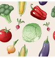 Vegetables Seamless Pattern in Vintage Style vector image vector image