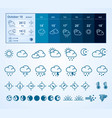 weather widget and icons set vector image vector image