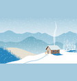 winter with house distant mountains skies snow vector image