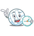 with clock volley ball character cartoon vector image vector image