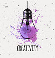 with hanging grunge light bulb with watercolor vector image