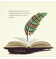 writing pen multicolored feather with open book vector image vector image