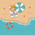 young girl on beach airview scene vector image vector image