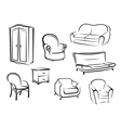 Collection of furniture designs vector image
