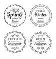 hello spring winter autumn and summer cards vector image
