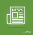 news outline icon white color vector image