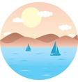 sailboats floating in the sea Mountain Beach sun vector image