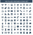 100 vintage icons vector image vector image